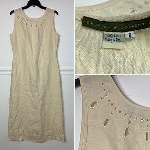 Peruvian Connection 100% Linen Maxi Dress 8